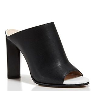French Connection Slashed Leather Mule Sandal 39